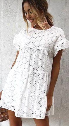 Elegant Dresses For Women, Simple Dresses, Casual Dresses, Casual Outfits, Summer Dresses, White Summer Beach Dress, Beach Outfits, Casual Clothes, Beautiful Dresses