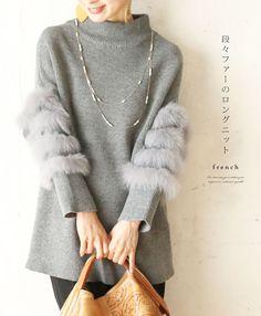 【楽天市場】「french」段々ファーのロングニットトップス 11月5日22時販売新作:cawaii