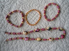 PINK Flower Beads Pink Glass Beads with Yellow by LandofBridget, $15.00