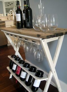 DIY wine rack makeover-cute! Maybe when the kids are all out.