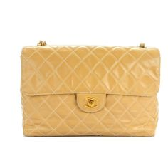"""the perfect sturdy travel bag  chanel vinyl beige large crossbody bag  measures 12 x 9 x 3 """" with a 18"""" strap drop  wear to corners and strap  asking $980  comment for more information or to purchase this item"""