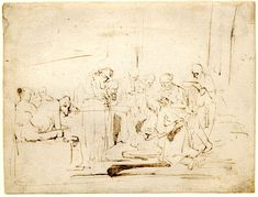 Rembrandt, Christ washing the feet of his disciples; kneeling before a group at r, a few figures seated at l foreground, including a man bending forward to watch. c.1628-9, pen and brown ink, touched with brown wash