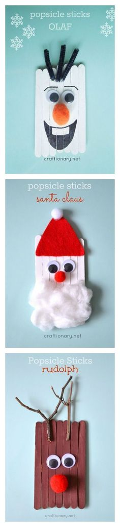 Popsicle stick kids crafts for Christmas including Santa Claus, reindeer, and Olaf the snowman! Adorable Christmas ornaments for kids to make this holiday season!