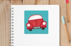 back to school shopping: Awesome personalized vintage Beetle name labels on sale at Minted