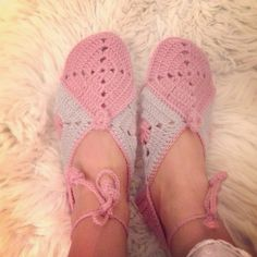 Crochet slippers by my mum.
