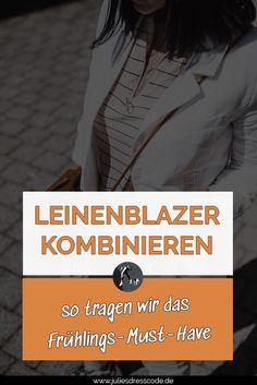 Leinenblazer kombinieren - so tragen wir ihn Julies Dresscode Fashion  Lifestyle Blog Fashion Weeks, Dress Code, Cooler Look, Fashion Bloggers, Fashion Trends, Street Style, German Fashion, Movies, Movie Posters