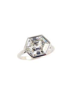 S.J. Phillips single stone hexagonal diamond ring, price upon request For information: sjphillips.com