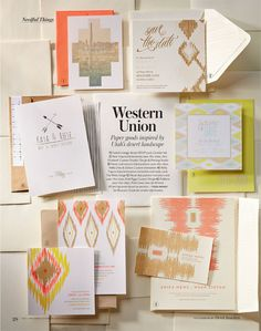 Western Union: Ikat, Aztec, and Southwestern-themed paper goods inspired by Utah's desert landscape // From the Summer/Fall 2013 issue of Salt Lake/Park City Bride & Groom Magazine