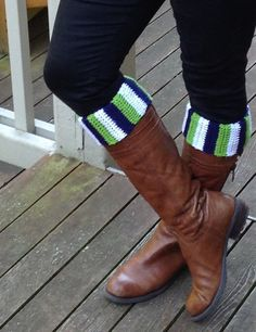 Seattle Seahawks boot cuffs football soccer crochet custom team by KnotableKnits on Etsy