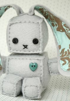 Just add ears to that other free robot plush DIY sewing pAttern I already pinned! Robot Easter bunny For the boys baskets! Just add ears to that other free robot plush DIY sewing pAttern I already pinned! Robot Easter bunny For the boys baskets! Baby Crafts, Cute Crafts, Felt Crafts, Fabric Crafts, Sewing Toys, Sewing Crafts, Craft Projects, Sewing Projects, Diy Couture