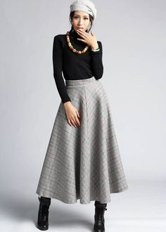 Gray Plaid Wool Skirt  Maxi Long Classic Style Winter di xiaolizi, $69.00