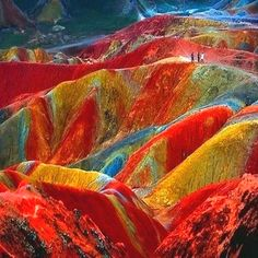 Danxia landforms in China. Incredible.  (Formed of layers of reddish sandstone, the terrain has over time been eroded into a series of mountains surrounded by curvaceous cliffs and unusual rock formations.)