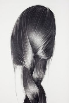 Hair illustrations by hong chun zhang hair рисование волос, эскиз прически, Realistic Pencil Drawings, Pencil Sketch Drawing, Pencil Art, Charcoal Drawings, Graphite Drawings, Realistic Hair Drawing, Long Hair Drawing, Art Sketches, Art Drawings