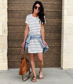 Comfy T-shirt dresses are so great for running a million errands and also perfect for traveling! Mine is almost sold out so I'm linking ten…
