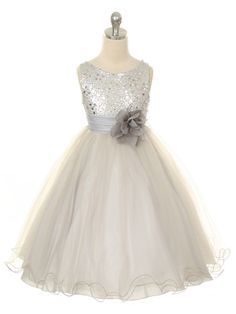 Silver Sequined Bodice with Double Tulle Skirt Flower Girl Dress (Sizes 2-14 in 4 Colors)