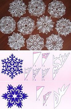 Best 8 6 beautiest patterns for cutting out Christmas snowflakes — save and share with friends – SkillOfKing. Paper Snowflake Designs, Snowflake Template, Christmas Snowflakes, Diy Christmas Ornaments, Christmas Decorations, Paper Snowflakes, Instruções Origami, Paper Crafts Origami, Origami Templates