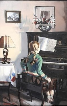 Girl at the piano by Herbert Badham (Australian 1899-1961) This was his daughter.