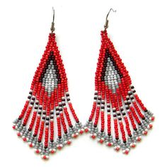 Red dangle earrings Red beaded earrings Red seed by HappyBeadwork