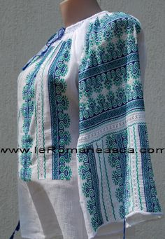 Traditional Romanian hand embroidered linen shirt (blue-green pattern)