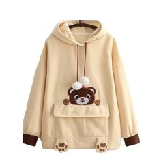 Shugo Wynne Mori Girl Pullover Hoodies 2017 Autumn Winter New Women Kawaii Bear Embroidery Hooded Long Sleeve Warm Sweatshirt Bear Hoodie, Pullover Hoodie, Sweater Hoodie, Kawaii Fashion, Cute Fashion, Girl Fashion, Fashion Outfits, Cheap Fashion, Kawaii Clothes