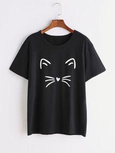 Черная кошка Печать Футболка