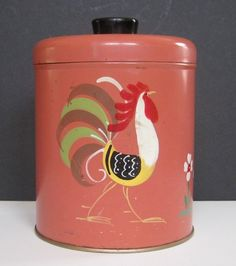 Vintage Ransburg Metal Canister Rooster on Salmon Background