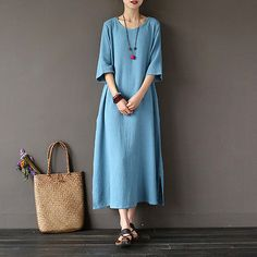Women's Short Sleeve Cotton Solid A-Line Long Dress Summer Cocktail Party Dress