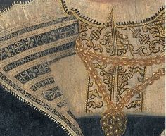 """detail of an uncited portrait 16th cen. netherlands    Wish I knew what image this was from- drawn thread work on """"parlet"""", gold work on collar of her chemise."""