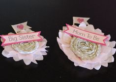 DIY Mom & Big Sister to Be Pins for Baby Sprinkle/shower - Posh Tart