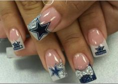 Not cowboys fan but do love these nails Dallas Cowboys Nail Designs, Dallas Cowboys Nails, Football Nails, Dallas Cowboys Football, Dallas Cowboys Tattoo Ideas, Texans Nails, Football Team, Love Nails, How To Do Nails