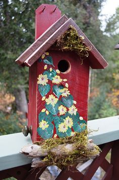 Birdhouse Hand Painted // Flowers & Vines by BirdhousesByMichele Visit my website naturaluniquebirdhouses.com for all my collections of goodies. Up-Cycled this birdhouse from what it was.