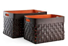 One Kings Lane - Woven Wonders - S/2 Orange & Leather Baskets