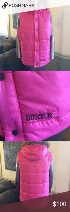 NWOT Burton Helsinki Vest-Removable Fur Trim Hood NWOT Burton hot pink Helsinki Puffer Vest with removable fur trim hood for versatile looks. Zip front with snaps--both zip pull & snaps feature Burton logo. Embroidered logo on front bottom left in purple. Cool embroidered eagle on back right shoulder. Inside lining has travel locations across the globe--including Helsinki. Zip close pockets--left one has glove hook inside so you don't lose them. Burton Jackets & Coats Vests