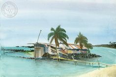 Kona Beach Shack, an original California watercolor painting by Steve Santmyer. This painting is available as a fine art giclée print on premium watercolor paper. Watercolor Logo, Watercolor Paper, Watercolor Paintings, Kona Beaches, Oceanside Pier, Hawaiian Art, California Art, Beach Shack, Laguna Beach