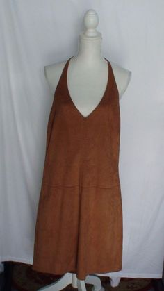 BCBG Halter Dress Faux Suede Women's Size S #BCBG