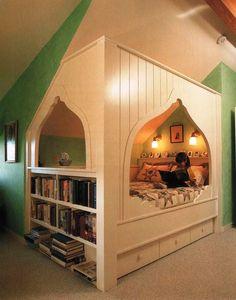 cozy bed + bookshelves + storage = awesomeness