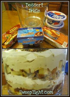 "Easy Trifle Dessert Recipe ""What's not to like? Custard? Good. Jam? Good. Meat? Good."" Had to throw in a Friends quote. ;)"