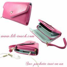 Mini sac pour I-phone, sac pochette, tout en un, porte monnaie. www.lili-touch.com