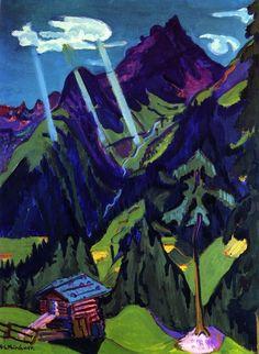 Ernst Ludwig Kirchner - Graubünden landscape with sun rays,1937.