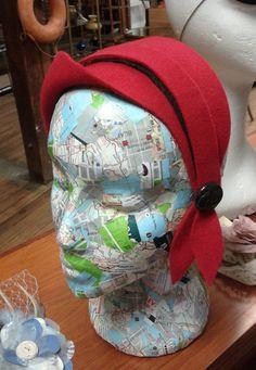 Red felt little vintage inspired hat