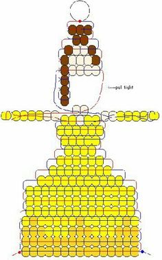 Belle from Beauty and the Beast Pony Bead Projects, Pony Bead Crafts, Seed Bead Crafts, Beaded Crafts, Beading Projects, Rainbow Loom Patterns, Pony Bead Patterns, Beading Patterns, Bracelet Patterns