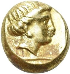 Ancient Greek: LESBOS. Mytilene. EL Hekte (Circa 350-340 BC).Gold Oro Or #469