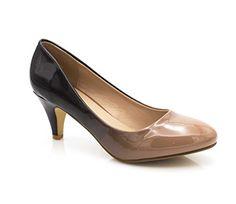 eeaa5ae6aa8975 Fashion Shoes - Escarpin Femme Vernis - Chaussures Bicolore Effet Dégradé  Dames - Talon Conique Hauteur Moyen 6CM - Confort Mode Taupe 38