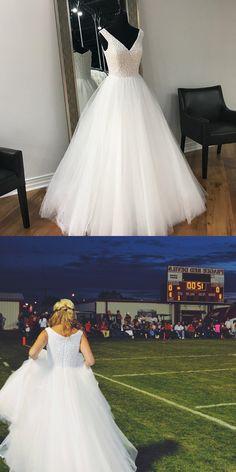 2018 prom dress graduation dress, white long prom dress, long prom dress with white pearls, formal evening dress ball gown