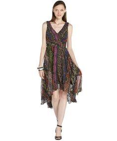 Ivy & Blu multicolor chiffon woven tribal print hi-low dress