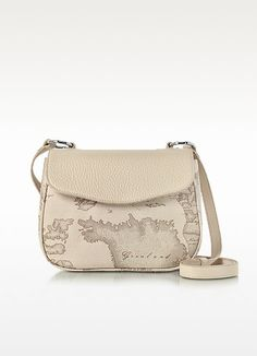 c9adf48f65 ALVIERO MARTINI 1A CLASSE Small Geo Safari Print And Cream Grained Leather  Crossbody Bag. #