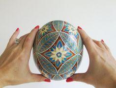 Oeuf d'autruche Pysanka bleu et marron, oeufs de Pâques ukrainiens, cadeaux de fête des mères
