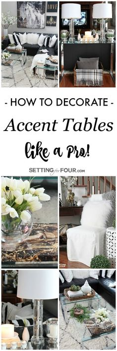 Do you have a console table, coffee table or end table that needs a little decorating style? See my 5 winning tips to decorate accent tables like a Pro! Coffee Table Styling, Decorating Coffee Tables, Decorating Tips, Interior Decorating, Interior Design, Holiday Decorating, Cosy Interior, Home Decor Inspiration, Decor Ideas