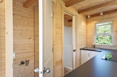 Tucked next to the kitchen is a nice bathroom.