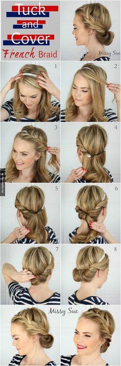 Lege einfach ein Haarband deiner Wahl auf deinen Kopf und lass etwas von deinem Pony frei, dann kannst du so drauf los flechten wie auf dem Bild. Und den Rest der Haare wickelst du einfach so hinter das Haarband, dass es schön aussieht. Nimm dir das Bild dazu als Hilfe.: